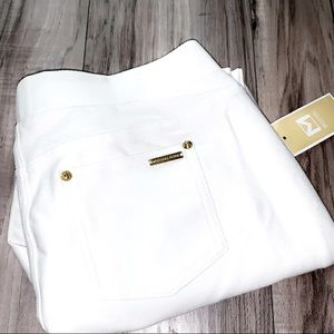 🆕MK White Pull-On Pants with Gold Accents